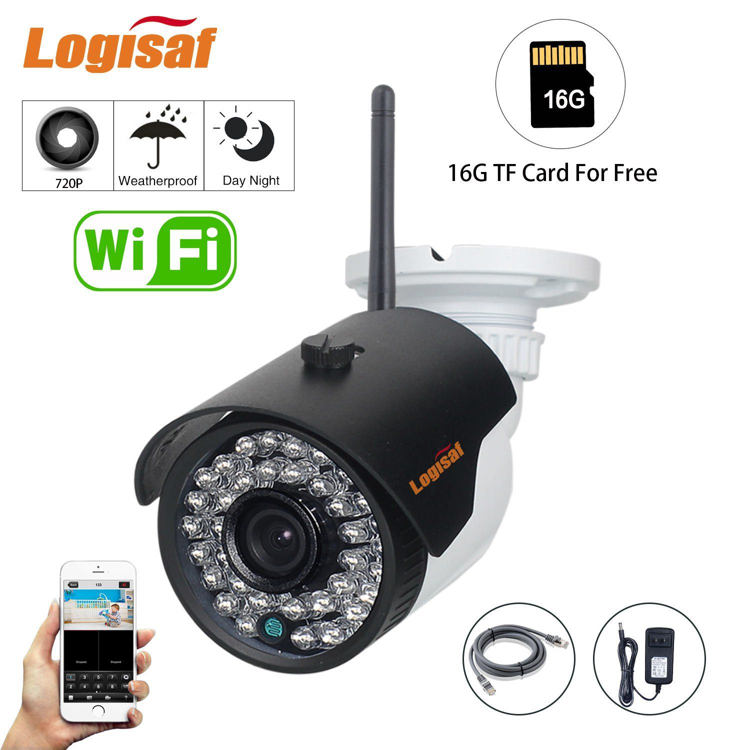 Logisaf Security IP Camera 720P HD Night Vision with 16G TF