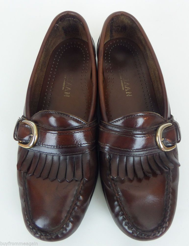 Cole Haan Men Shoes Brown Slip On Loafers Buckle 8 US Kilt American Handsewn
