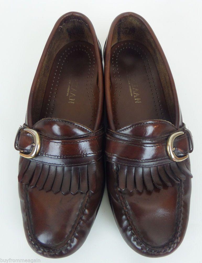 Cole Haan Men Shoes Brown Slip On Loafers Buckle 8 US Kilt American Handsewn