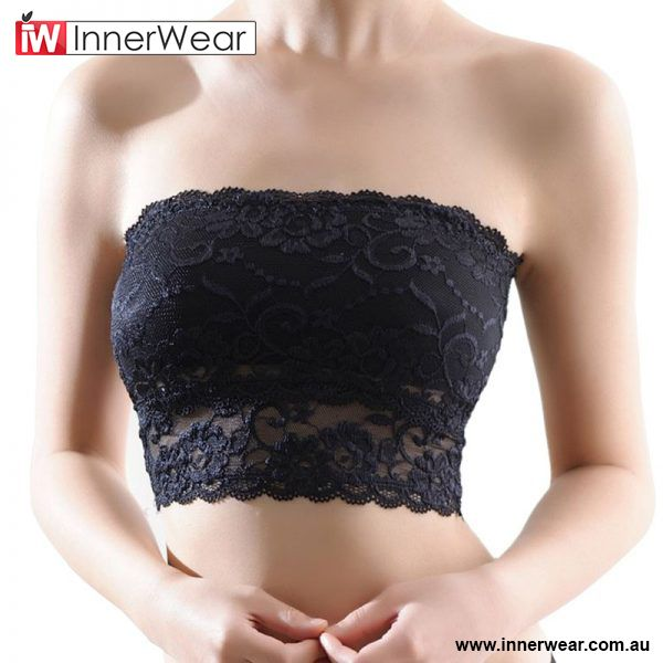 2355aece1572b Sexy Lace Bandeau Seamless Padded Tube Tops Casual Strapless Crop Top Bra   gt  gt
