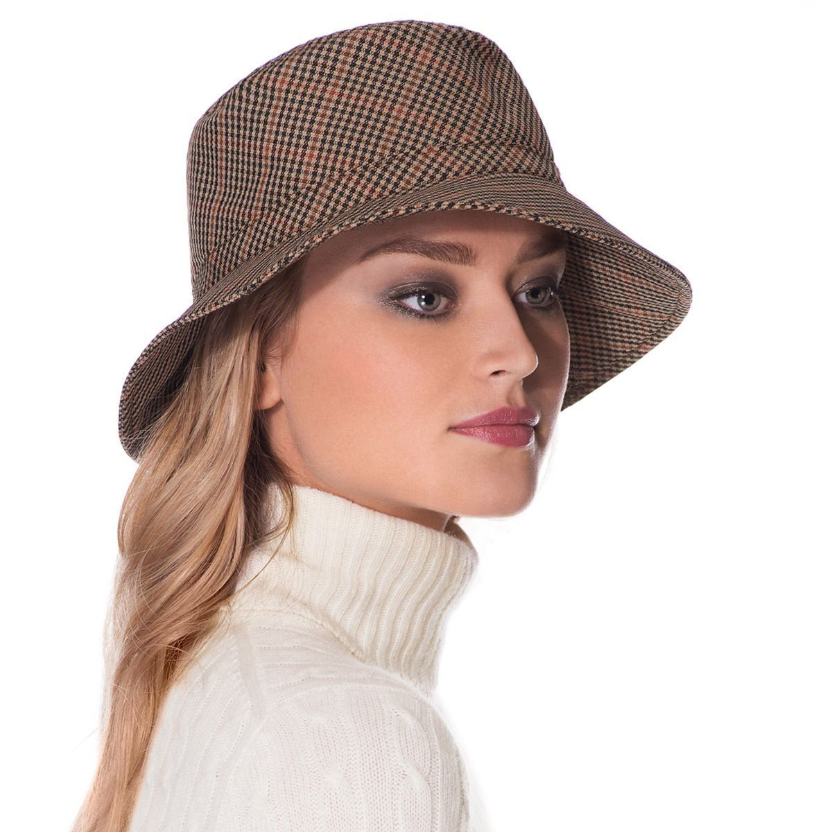Eric Javits Fashion Designer Women S Headwear Hat - Rain Bucket - Tan Check 1d234a87c365