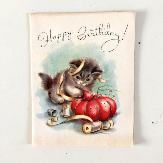 Vintage 1930s Kitten Birthday Card Vintage Sewing Image Card Old