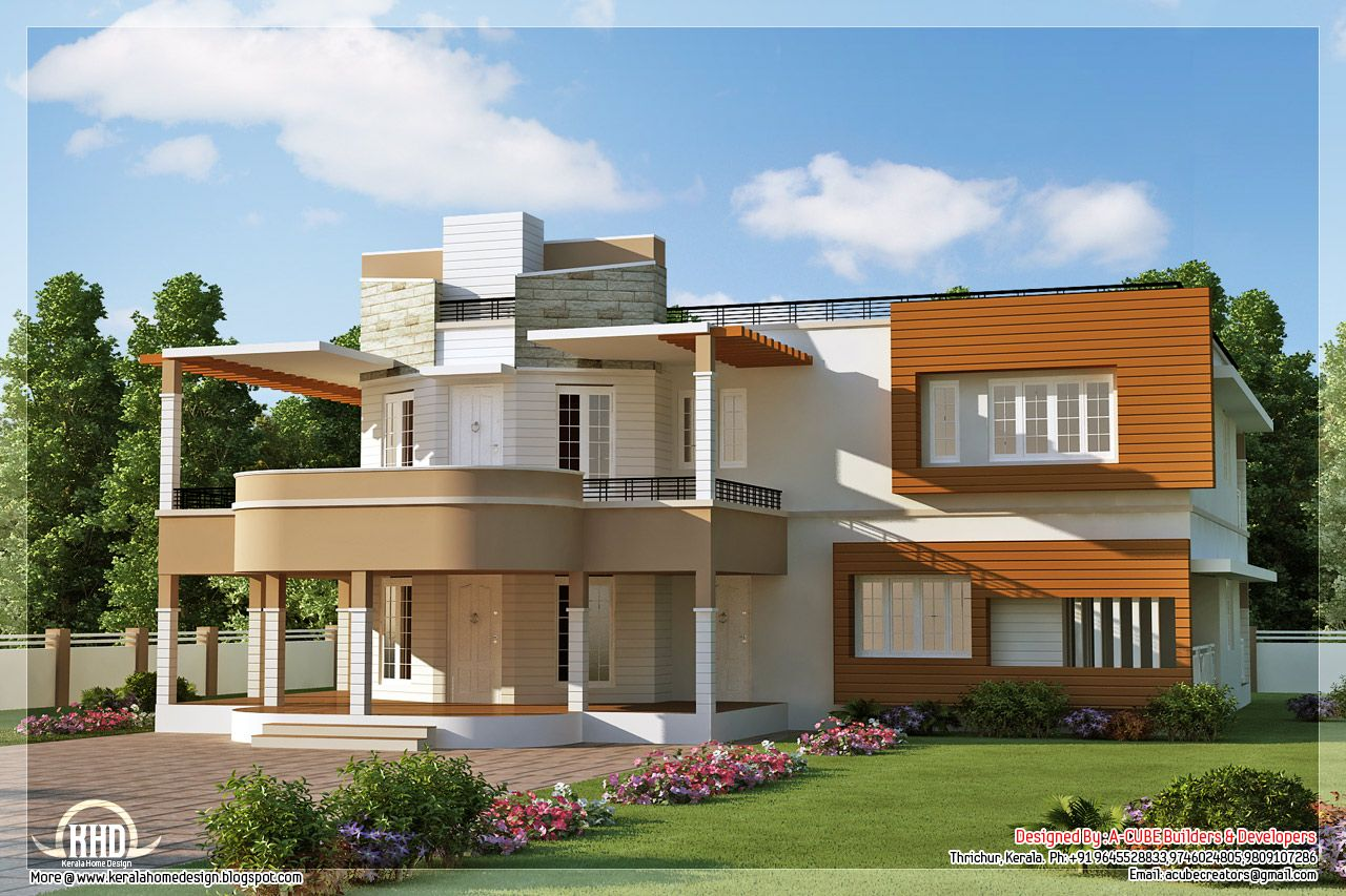 elevation of unique trendy house Kerala home design and