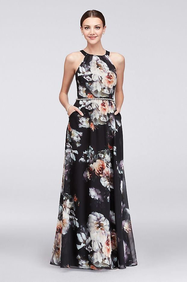 888df74f689 Floral Printed Round-Neck Chiffon Mother of the Bride dress with Beaded  Waist
