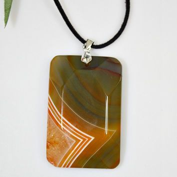 Stone Pendant Necklace - Polished Faceted Druzy Geode Agate  / Black Suede Cord - Green / Orange Statement Gemstone Necklace - Unique Gift