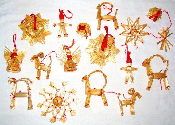 Swedish Straw Ornaments Swedish Christmas Decorations Christmas Decorations Rustic Straw Crafts