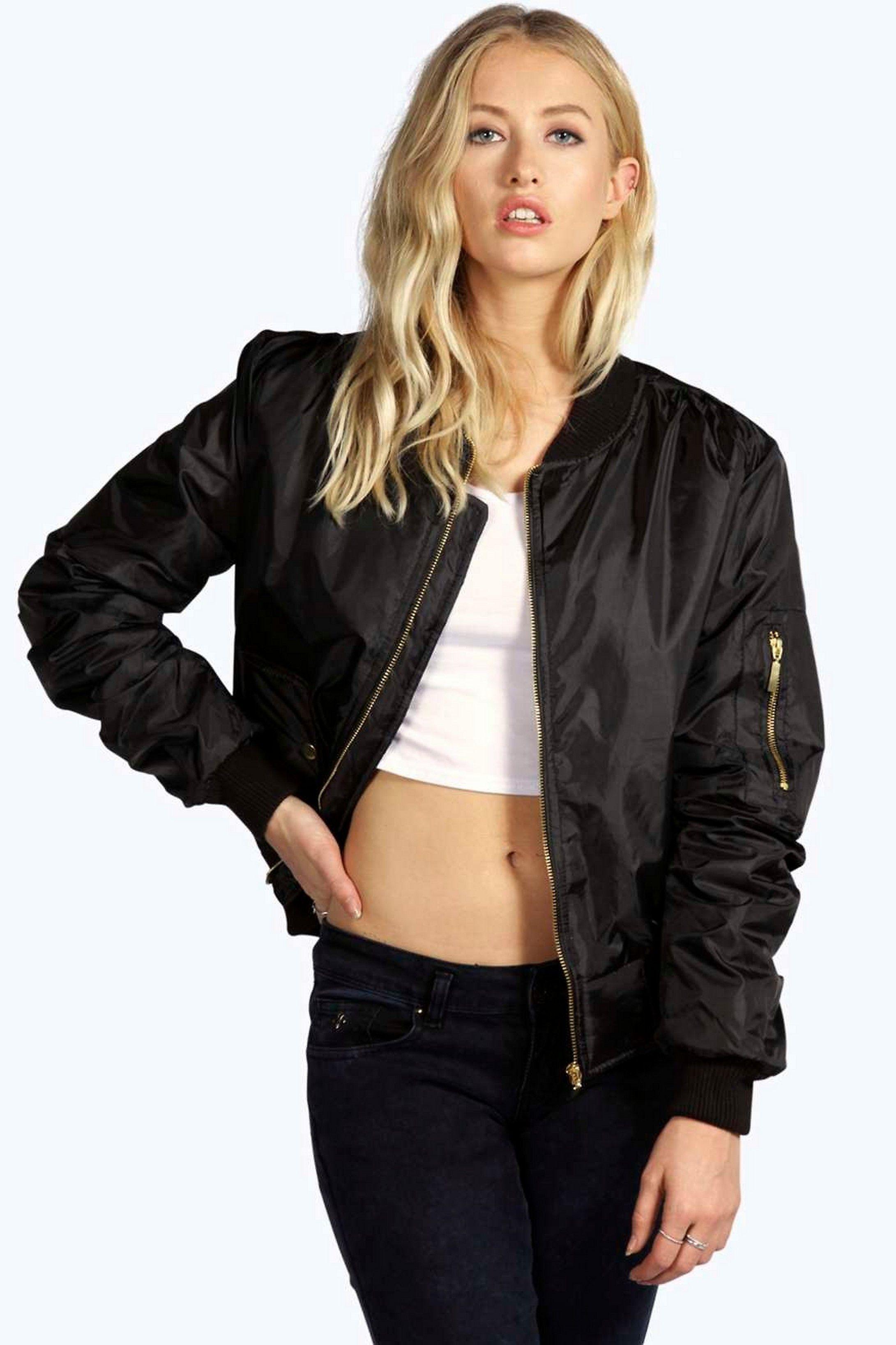 Women Jacket Vintage Zip Biker Short Padded Baseball Winter Bomber Outwear Coat