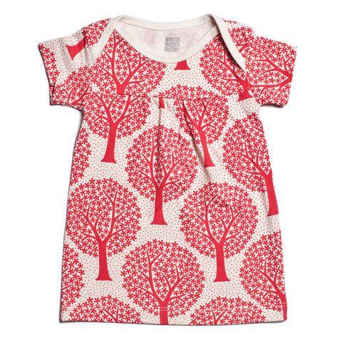 Short-Sleeve Rocking Horse Baby Dress - Trees Red