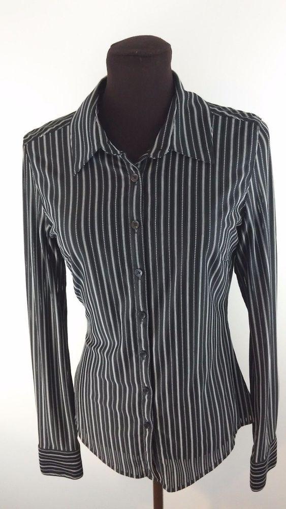 Express Shirt M Medium Black White Sheer Pinstriped Longsleeve Work Buttondown #Express #ButtonDownShirt #Career