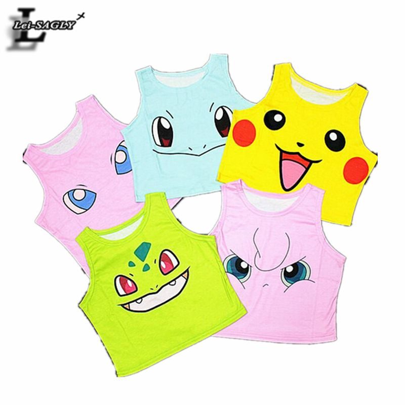 7f1be4cff33e7 Summer Style Pokemon Pikachu Series Print Crop Top Harajuku Fitness Women  Sexy