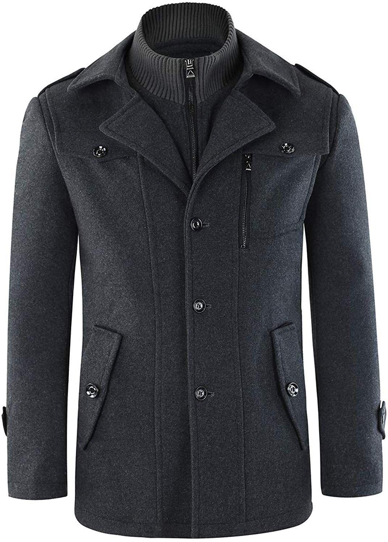 Men S Coats Zip Wool Coat Warm Winter Jacket Fake 2 Piece Tweed Outwear Black Amazon Co Uk Clothing Sweater Outfits Men Men Shirt Style Mens Wool Coats [ 1500 x 1072 Pixel ]