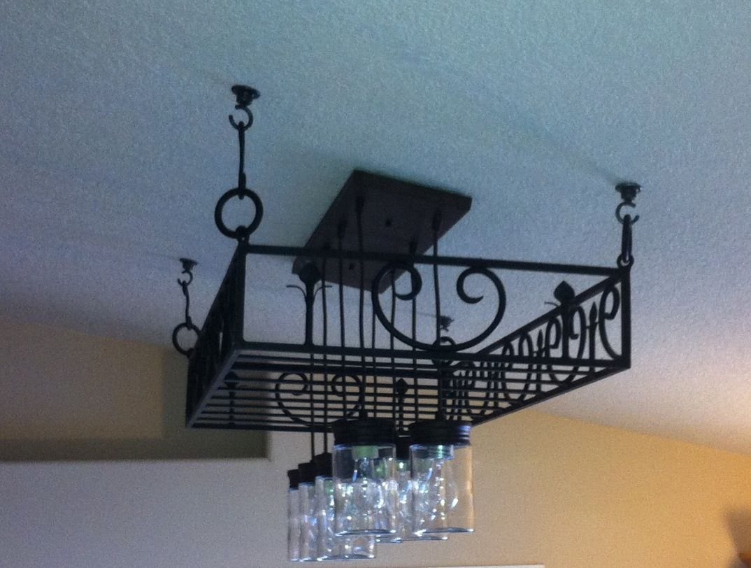 Kitchen pot racks with lights - Pot Rack Mason Jar Light Fixture Rustic Farmhouse Inspired Diy