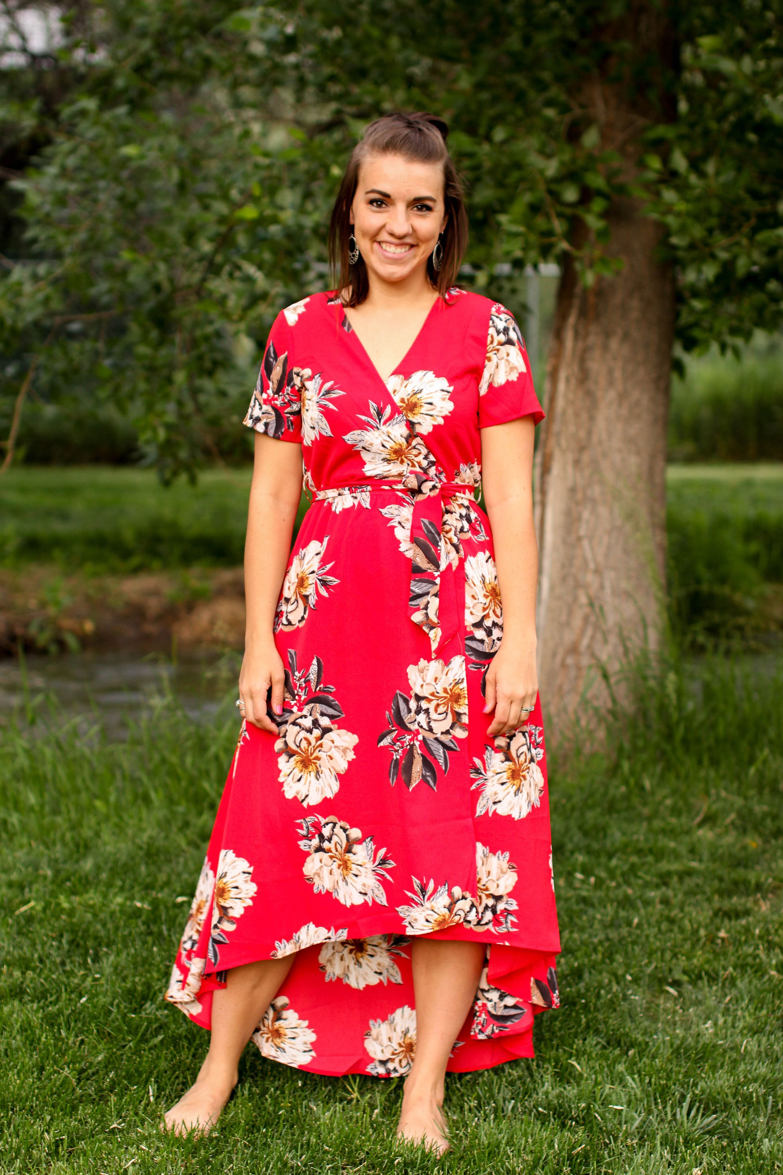 8de3c2f808b1 Cassandra Floral Wrap Dress in Red