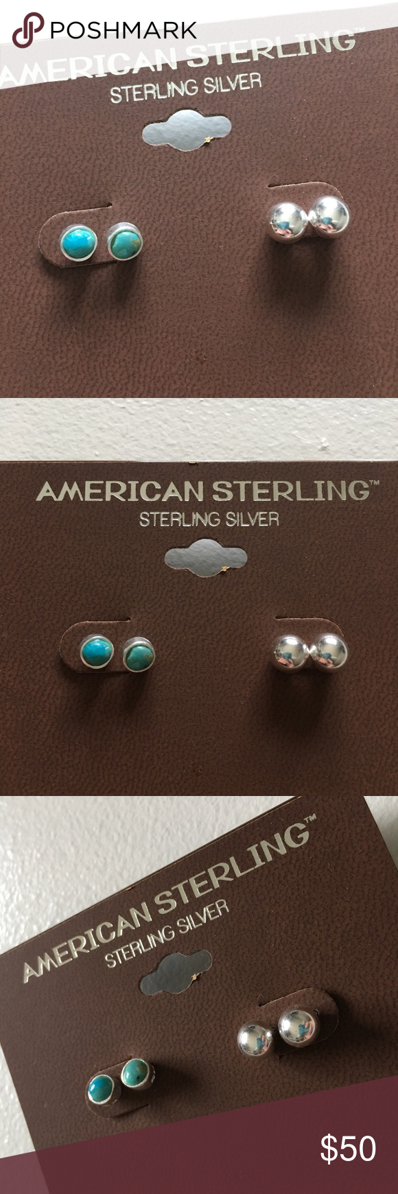 NWT Sterling Silver Turquoise Stud Earrings Set Brand new with tags. American Sterling Jewelry Earrings
