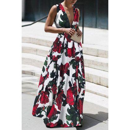 Photo of Vestito lungo senza maniche sexy elegante con stampa floreale – shewaves.com
