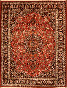 antique Mashhad rug signed by master weaver Hosseini