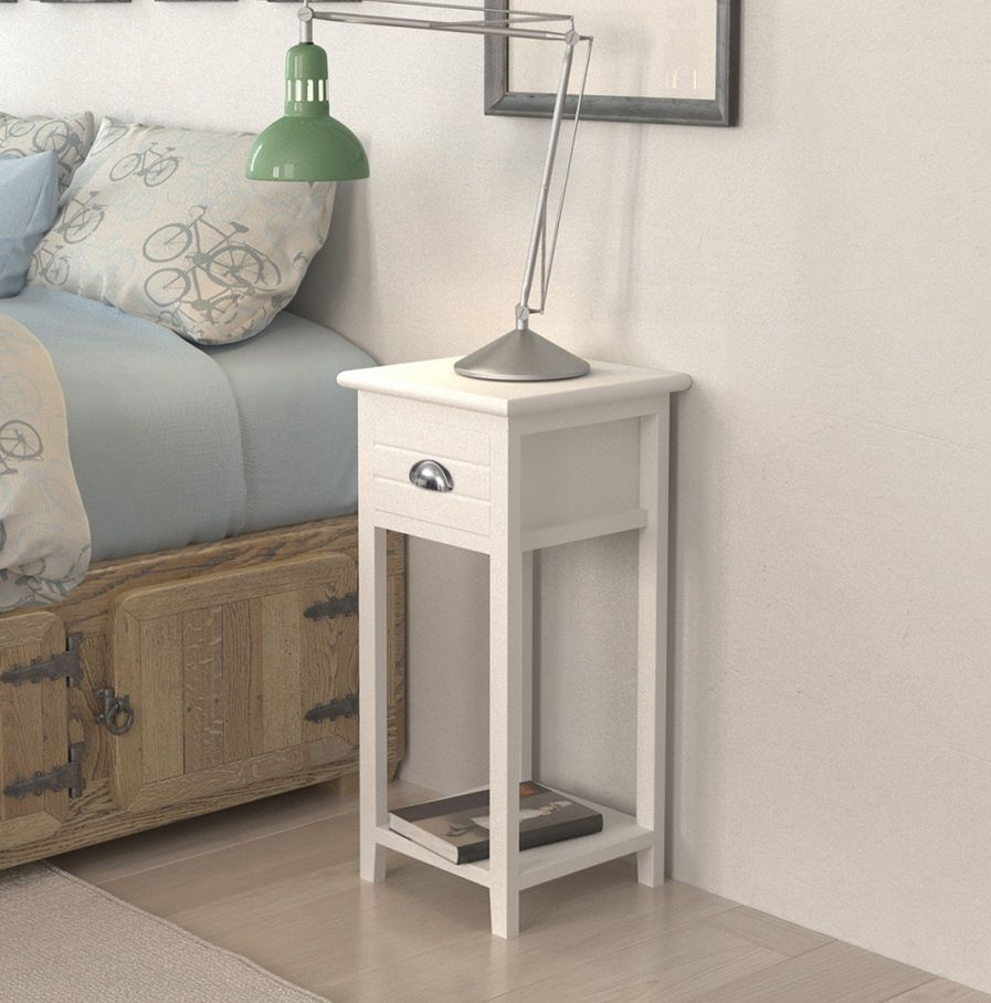 Small White Bedside Table Lamp Phone Stand 1 Storage Drawer