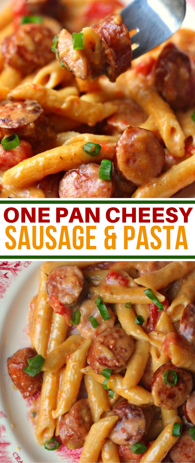ONE PAN CHEESY SMOKED SAUSAGE & PASTA RECIPE #dinner #pastarecipe Tbsp olive oil  1 lb sausage  ½ cup diced onion  1 Tbsp minced garlic  2 cups Chicken Broth  1 (14 oz) can diced tomatoes  ½ cup milk  8 oz dry pasta  ½ teaspoon salt and pepper, each  2 cup shredded Cheddar-Jack cheese  ¼ tsp of Red Pepper Flakes  ⅓ cup chopped scallions, for garnish #sausagechickenrecipes