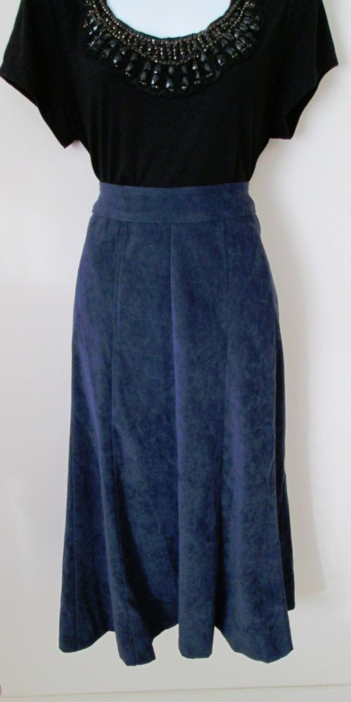 Christopher and Banks Size 8 Navy Blue Stretch Suede Skirt A Line Mid Calf   #ChristopherBanks #ALine