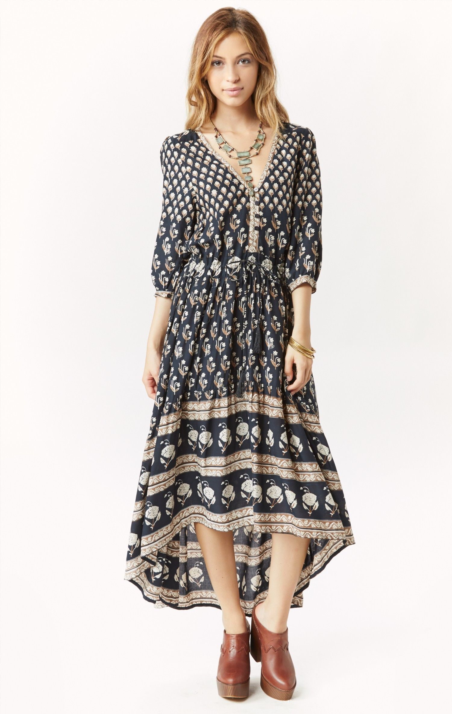 1306851575f Spell Bohemian Royale Maxi Dress in Gray (CHARCOAL)