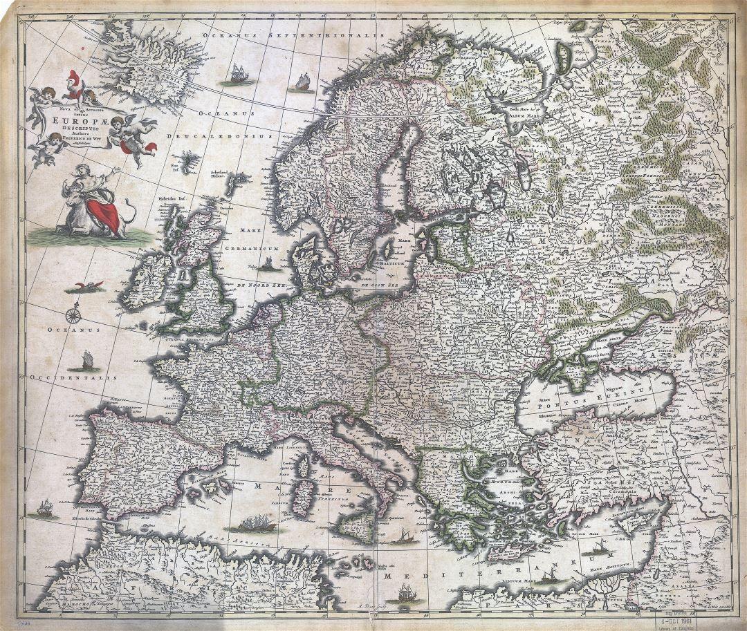 Krupnomasshtabnaya Detalnaya Staraya Karta Evropy 1700 Starye