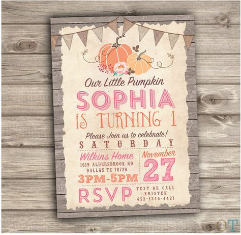 Pumpkin birthday printable invitations fall theme rustic wood farm pumpkin birthday printable invitations fall theme rustic wood farm burlap our little pumpkin country pink party girl first birthday nv611 pinterest pink filmwisefo Gallery