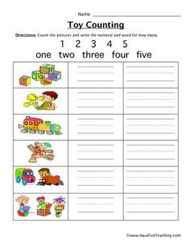 counting worksheet  feb math counting  pinterest  counting  free counting worksheet   count the pictures and write the numeral and  word for how manybrought to you by have fun teaching