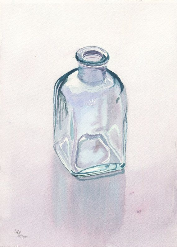 Glass Bottle Art Watercolor Painting Print By Cathy Hillegas