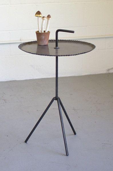Metal Tripod Side Table With Handle Raw Metal Side Table Metal Side Table Modern Side Table