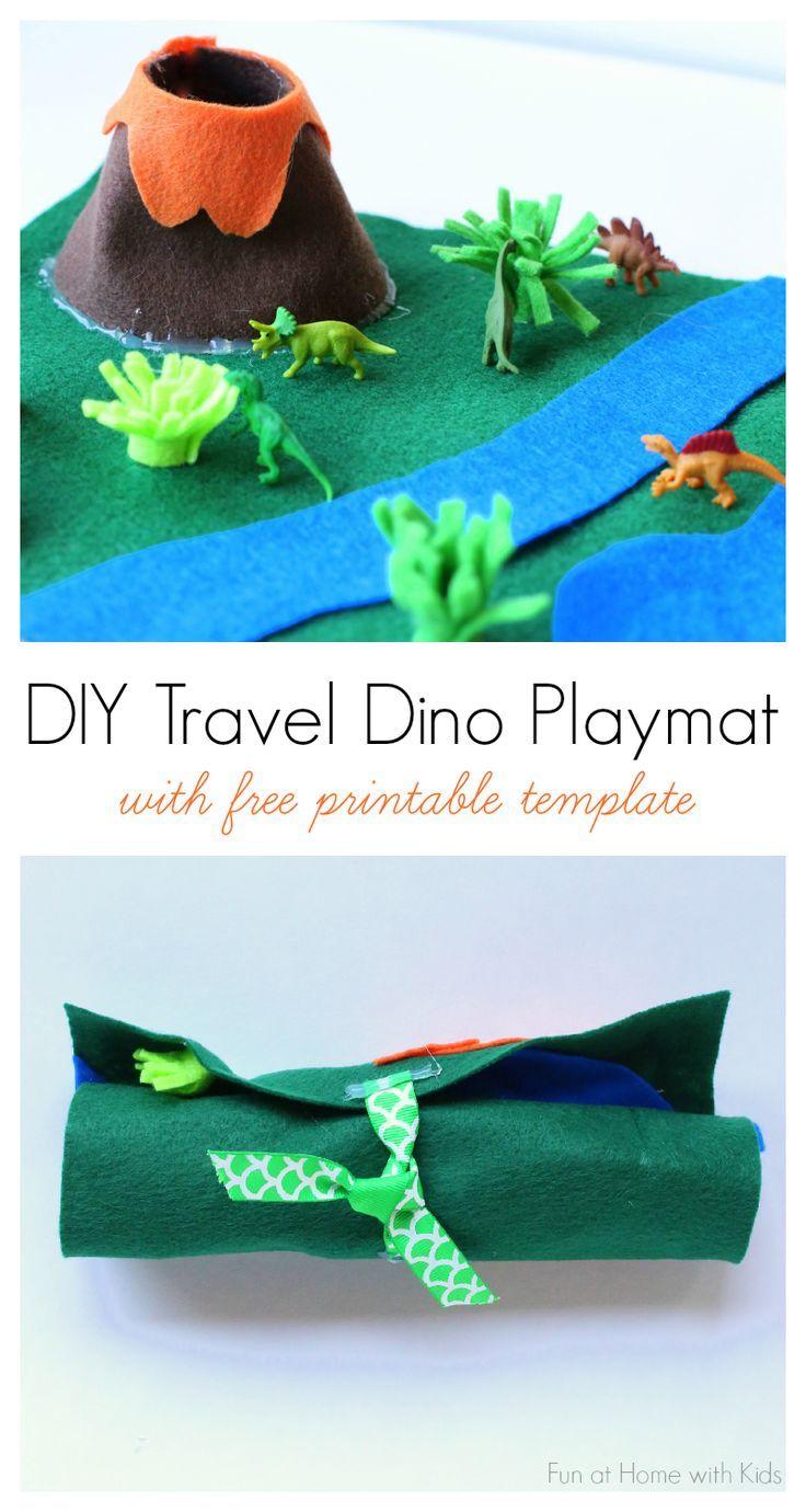 DIY No-Sew Portable Travel Dinosaur Playmat with Free Printable ...