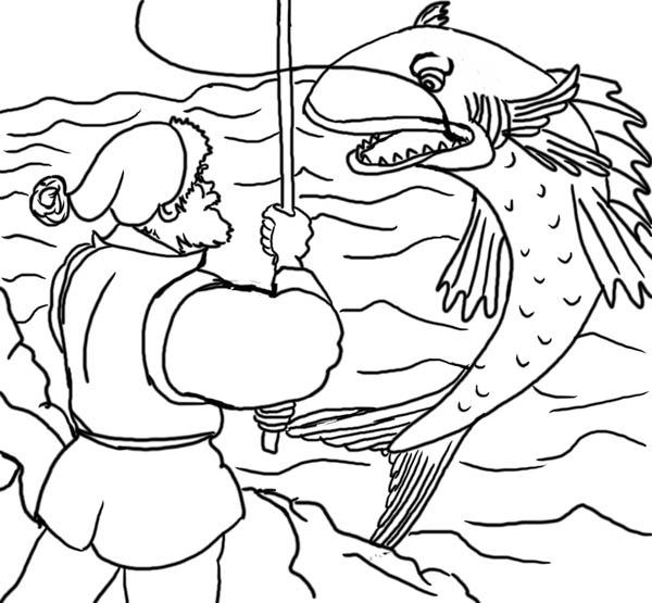 Fisherman And Magic Fish Coloring Page Coloring Sky Fish Coloring Page Coloring Pages Coloring Pictures