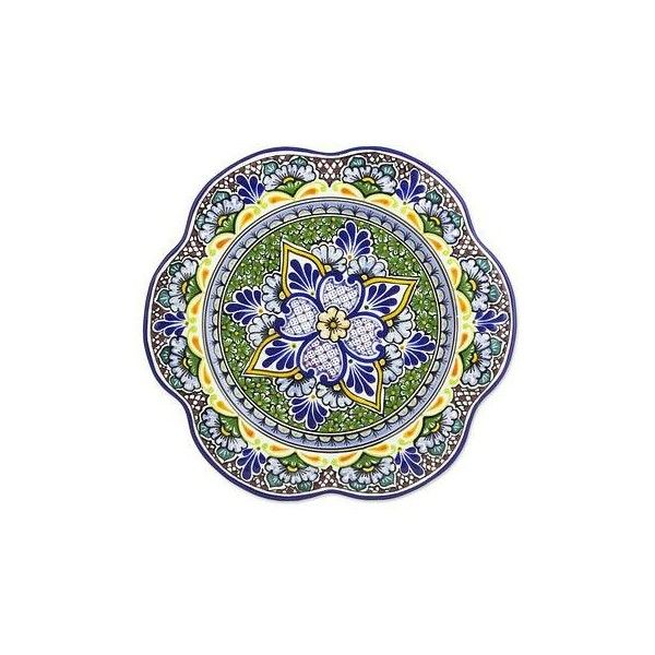 NOVICA Artisan Crafted Handcrafted Floral Ceramic Platter Serveware (255 ILS) ❤ liked on Polyvore featuring home, kitchen & dining, serveware, dinnerware, green, homedecor, plates, tableware & entertaining, handmade ceramic plates and handmade ceramic platters