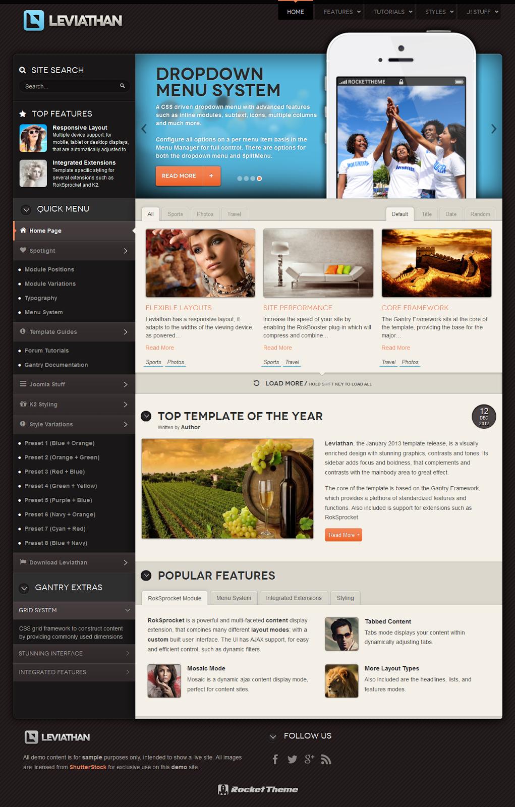 RT Leviathan - Rockettheme Joomla Template | grouping | Pinterest ...