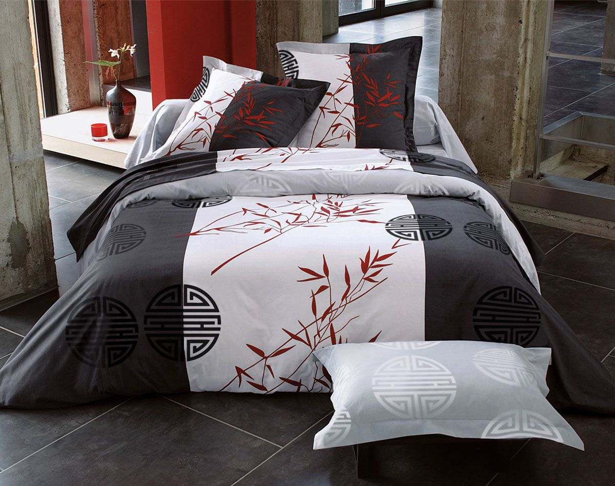 linge de lit motifs bambous id es d co pinterest. Black Bedroom Furniture Sets. Home Design Ideas