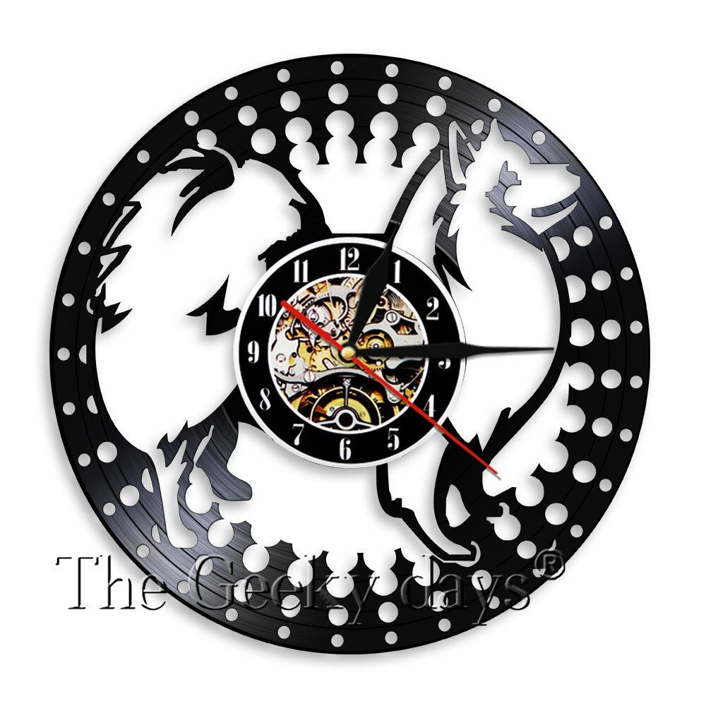Japanese Spitz Silhouette Wall Clock Dog Puppy Animal Vinyl Record Wall Art Decor Clock 3d Wall Watch Handmade Craft Gift Record Wall Art Wall Clock Clock