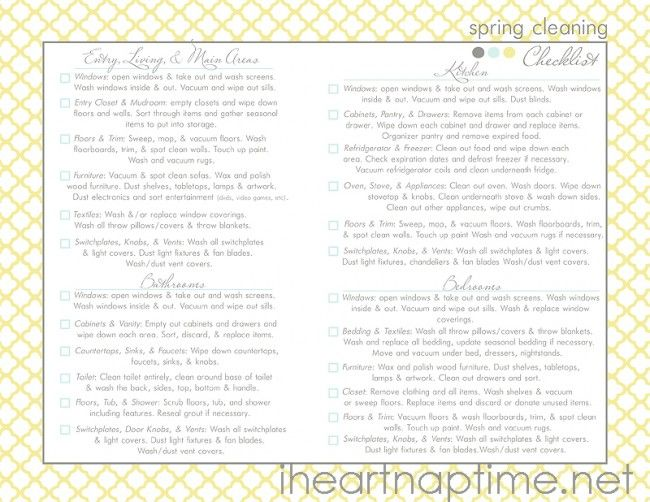 Sample Spring Cleaning Checklist Free Templates For House Cleaning