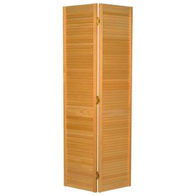 Shop Reliabilt Louvered Solid Core Pine Bifold Closet Door Common 36 In X 80 75 In Actual 35 5 In X 79 I Closet Doors Bifold Closet Doors Build A Headboard
