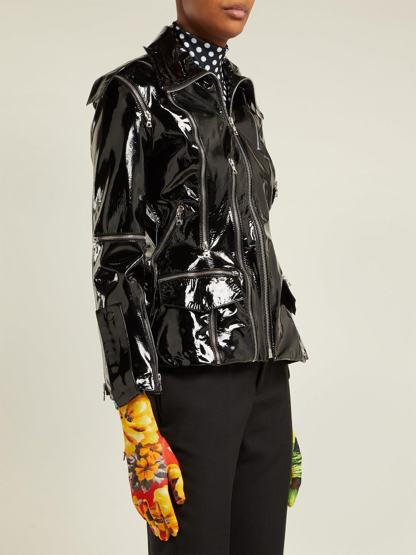 Zipembellished patentleather jacket Richard Quinn