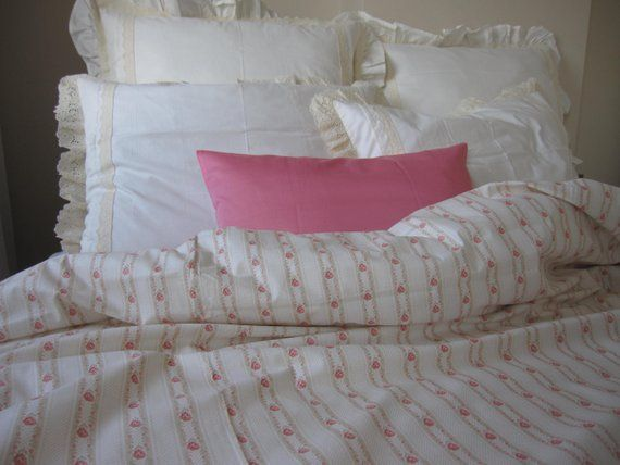 shabby chic Bedding duvet cover pastel pink blue damson roses floral stripe print Twin Queen super k