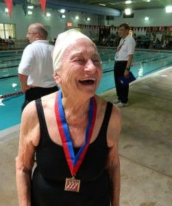 """Marie Kelleher. Ninety-nine years old and fit, and setting national (U.S.) records in swimming. """"With these swims she becomes the first female USMS [United States Masters Swimming] member to compete in the 100-104 age group."""" (USMS rules counts the swimmer's age as of December 31 for competitions held in 25-meter courses.)"""