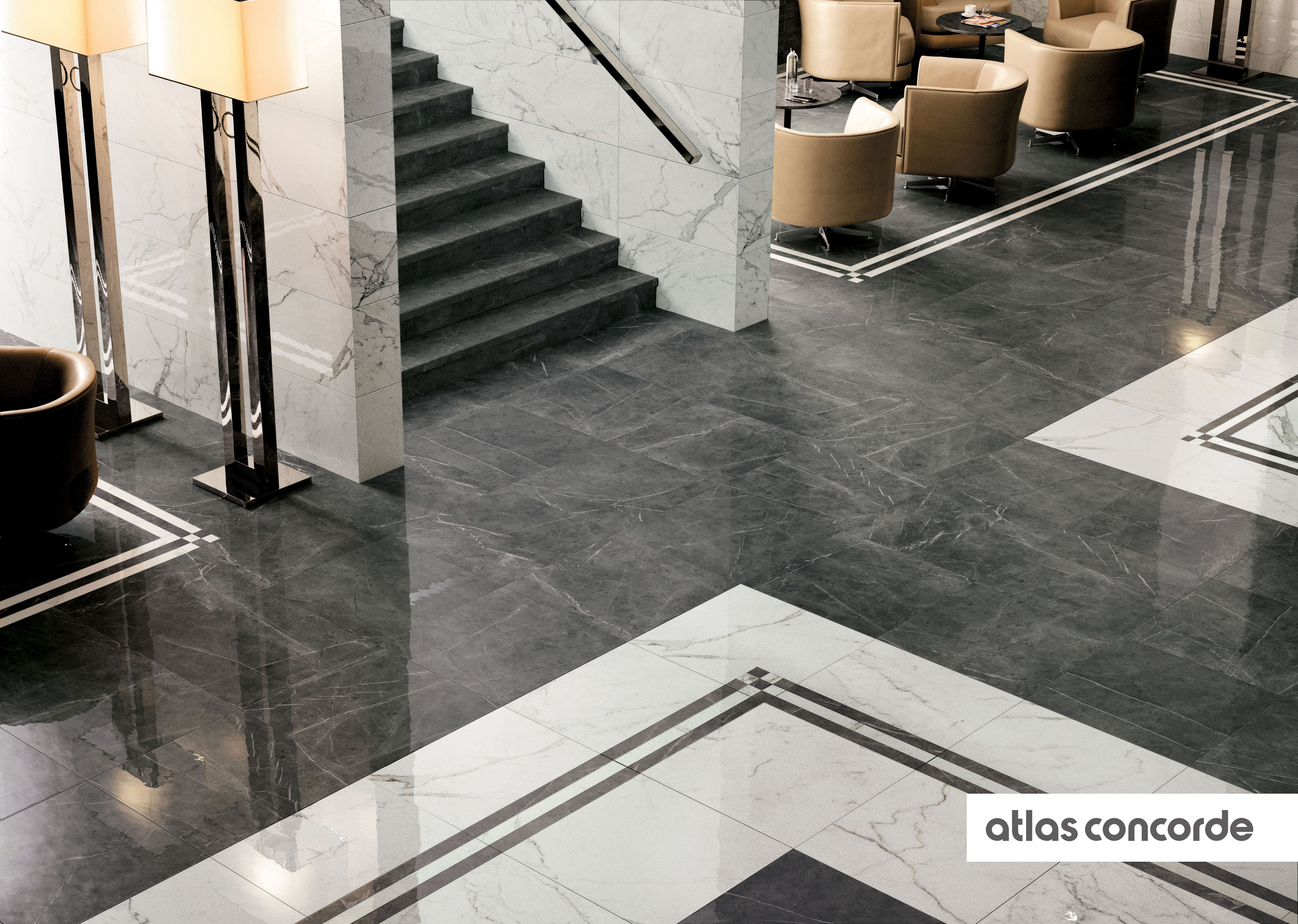 Marvel calacatta and grey atlasconcorde tiles for Carrelage 75x75 gris