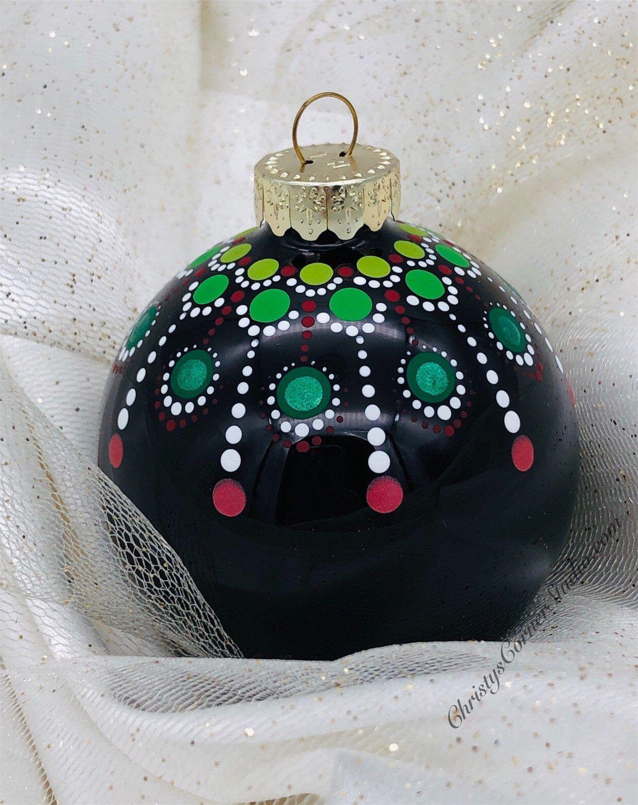 Hand Painted Mandala Christmas Ornament Black Glass Ball Etsy Handpainted Christmas Ornaments Christmas Ornaments Christmas Ornament Crafts