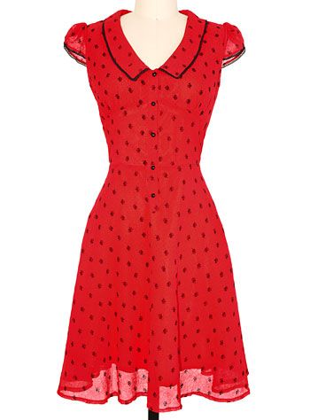 b2dd38cdd82a Dainty Dame Flocked Roses Dress at PLASTICLAND | Rockabilly and ...