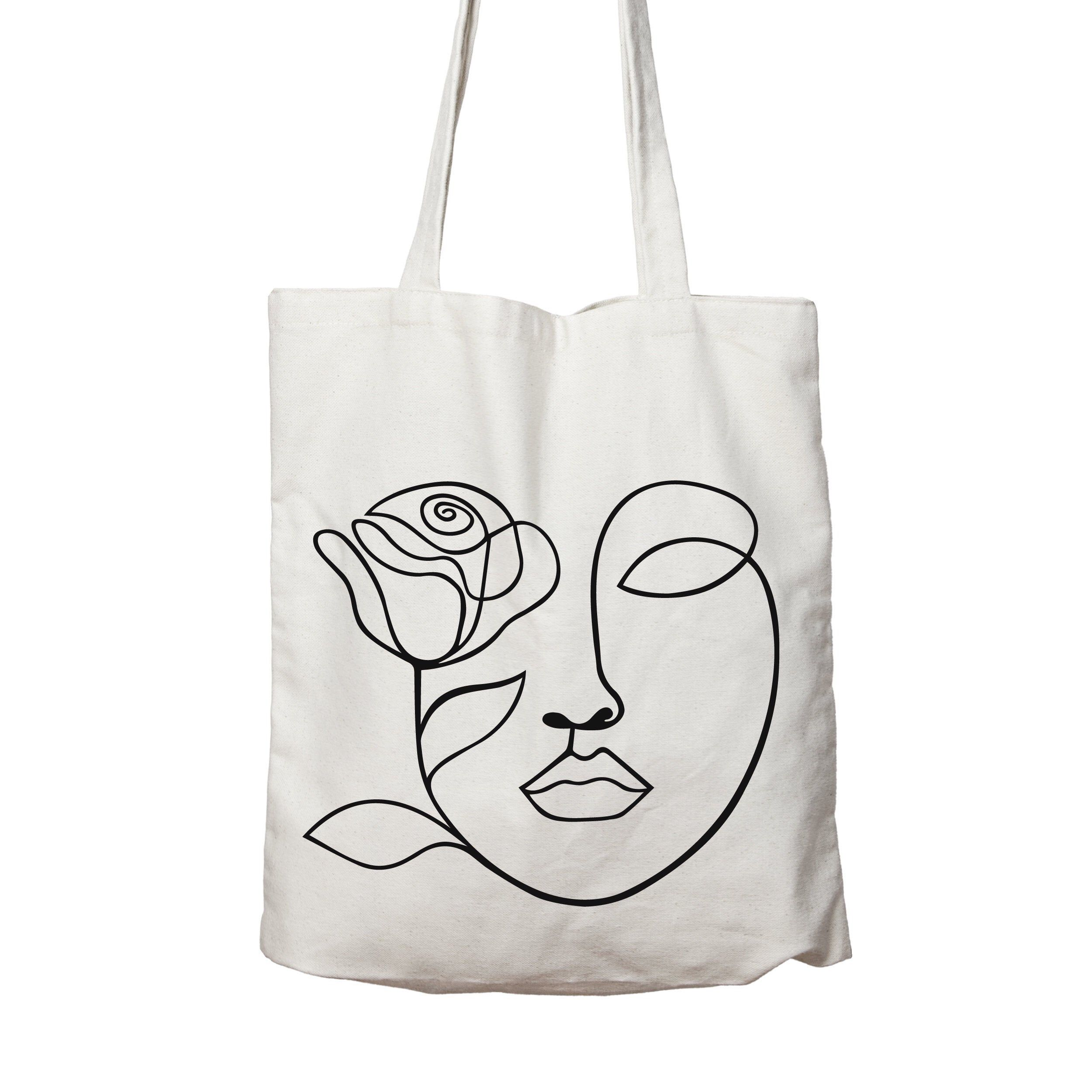 Cotton Bag Gift For Her Tote Bag One Line Art Tote Bag Eco Friendly Shopping Bag Shoulder Bags One Line Face with Flowers Tote Bag