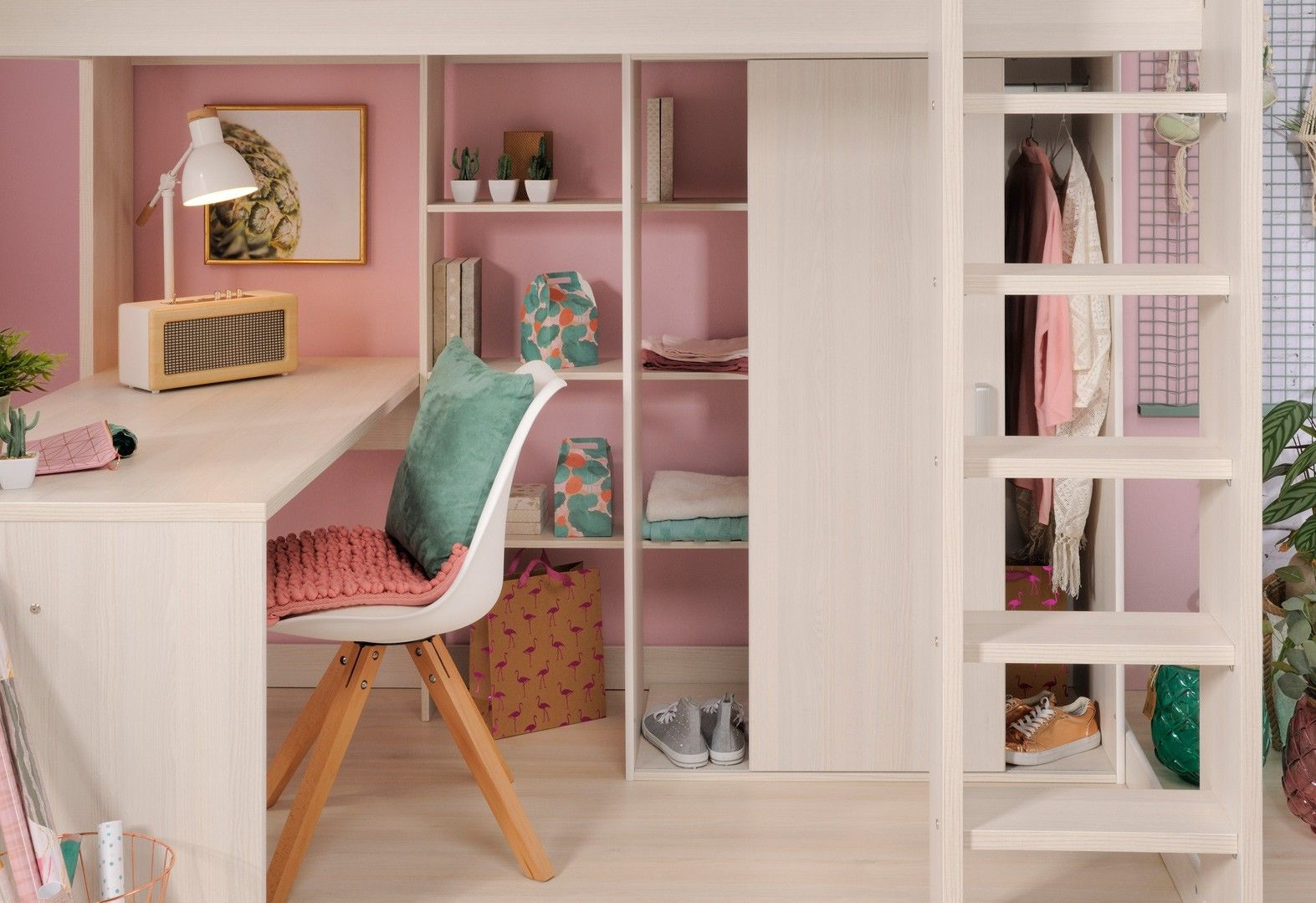 Lit Fille Design Lit Mezzanine Enfant Contemporain Coloris Frêne Nordique Marylou