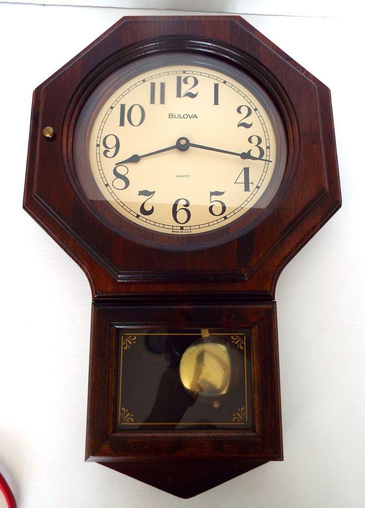 Bulova Wood Wall Clock Pendulum Made In Usa Vintage Quartz Tested Works Clock Wall Clock Vintage Clock