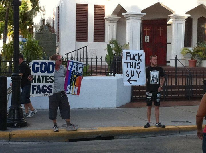 I love how the guys rainbow sign has the butt sex guys, maybe I'm just immature lol