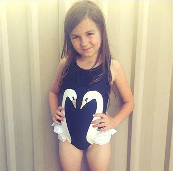 50015c439ae0e Cute Kids One Piece Suits + Swim Cap Girls Swan Flamingo Print Ruffles Swimwear  Bathing Suit