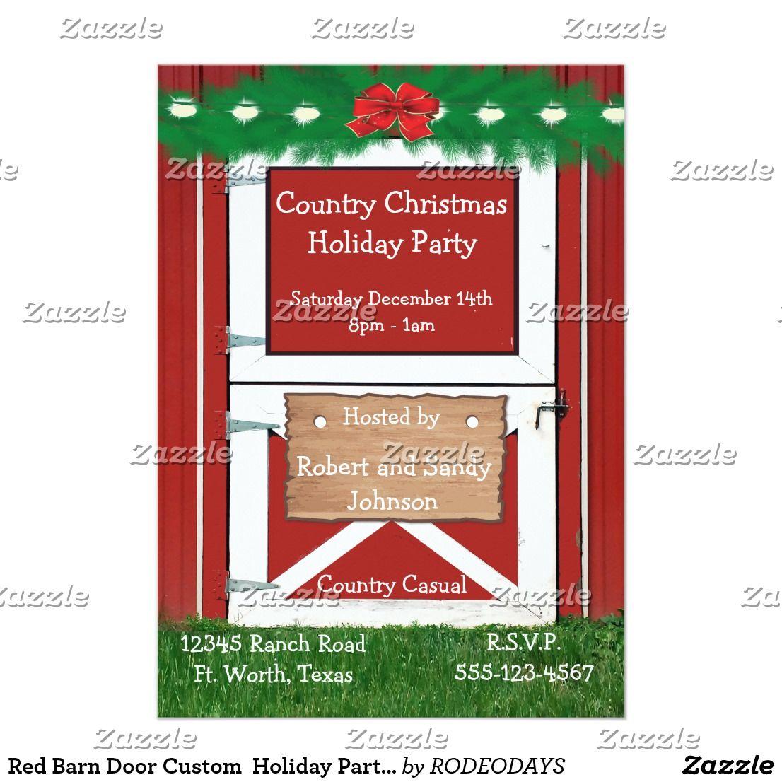 Red Barn Door Custom Holiday Party Invitation | WESTERN CHRISTMAS ...