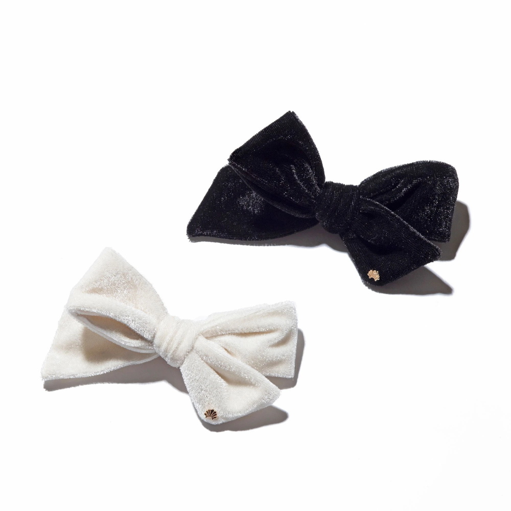 Black And White Set Of Two Bow Tie Barrettes Bows Velvet Bow White Bow